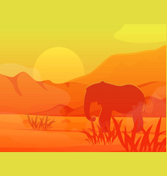 savanna elephant in africa travel monochrome vector image