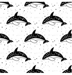 seamless pattern mystical whale with moon and vector image