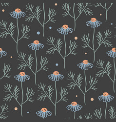 seamless pattern with chamomile branches vector image