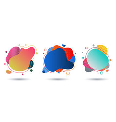 set fluid colorful gradient shape on white vector image