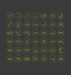 set line icons in flat design transport vector image