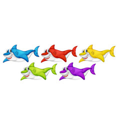 set many smiling cute shark cartoon character vector image