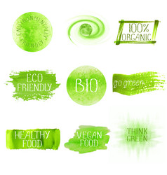 Set of watercolor green logo vector