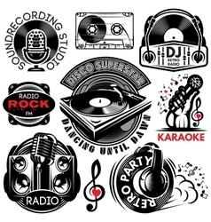Set retro badges template for karaoke disco vector