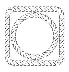 Simple rope frames - square and round rope borders vector