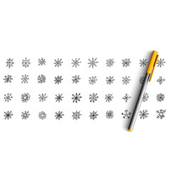 snowflakes doodle set vector image