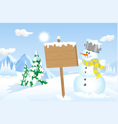 snowman holding a wooden sign in a winter scene vector image