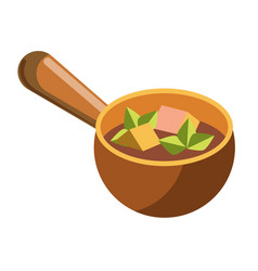 Soup with cheese and meat cubes in clay bowl vector