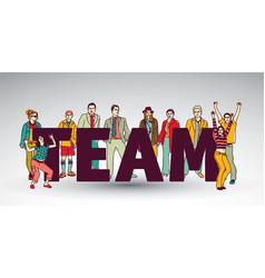 team group business people and sign vector image