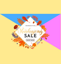 thanksgiving sale poster autumn promo discount vector image