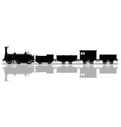 The black silhouette of a historical steam train vector