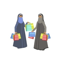 Two women in muslim outfit in shopping mall vector