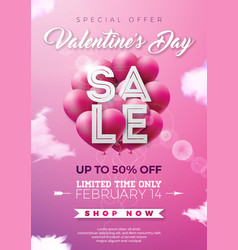 Valentines day sale with red heart vector