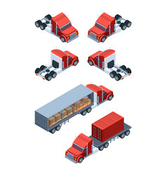 various freight transport pictures of isometric vector image