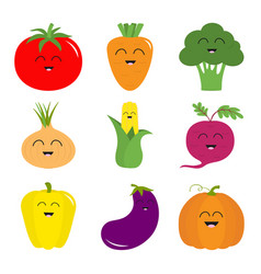 vegetable icon set pepper tomato carrot broccoli vector image
