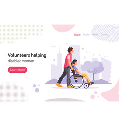 Volunteer man walking in park with girl disabled vector