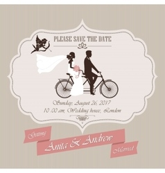 Wedding invitation tandem bicycle vector image