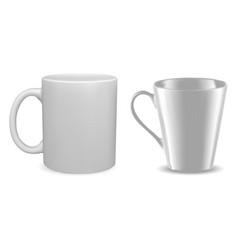white mug mockup isolated coffee cup blank vector image