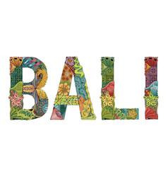 Word bali decorative entangle object vector