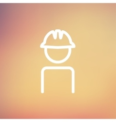 Worker wearing hard hat thin line icon vector