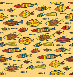 Yellow pattern with shoal of fishes vector