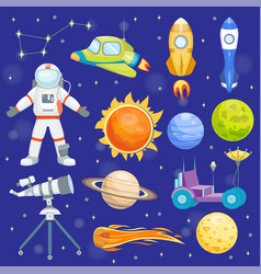 astronaut space icons landing planets vector image vector image