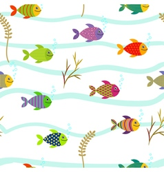 Colorful sea fishes Underwater nature Seamless vector image vector image