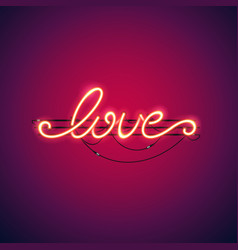 love red neon sign vector image vector image