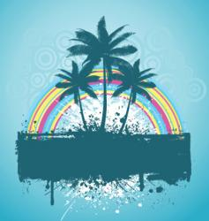 palm tree grunge vector image vector image