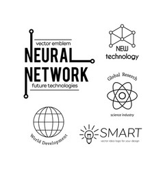 science and new technologies logo set vector image vector image