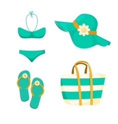 Thongs Hat Swimsuit Bag vector image