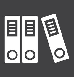 binders solid icon business and folder vector image