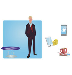 businessman manager in a business suit stands vector image vector image