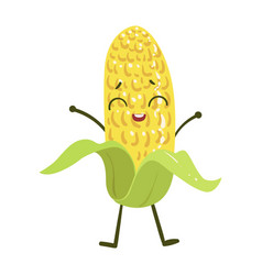 corn cute anime humanized smiling cartoon vector image vector image