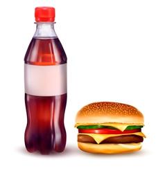 hamburger and cola vector image