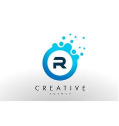 r letter logo blue dots bubble design vector image vector image