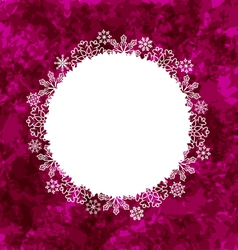 Christmas round frame made in snowflakes on grunge vector image