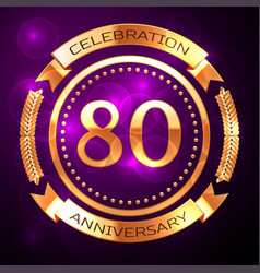eighty years anniversary celebration with golden vector image