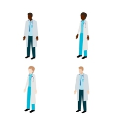 Isometric doctor character set vector image