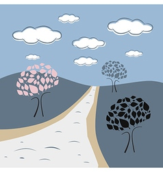 Abstract Nature Scene with Trees Road Hills Clouds vector image vector image