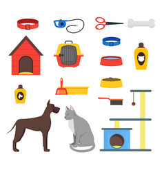 Cartoon domestic pets care set vector