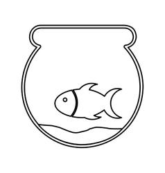 cute fish mascot in aquarium isolated icon vector image