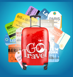 go travel concept different boarding pass vector image vector image