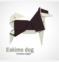husky dog logo origami vector image vector image