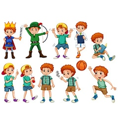 Little boy in different costumes vector image vector image