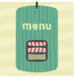 outline sushi rice roll with raw fish meat salmon vector image