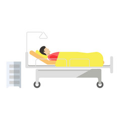 patient lying on medical bed with wheels on white vector image vector image