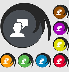 People talking icon sign Symbols on eight colored vector image