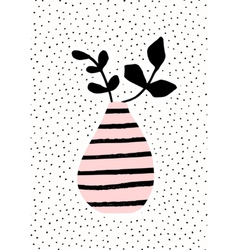 Pink Vase with Branches vector image vector image