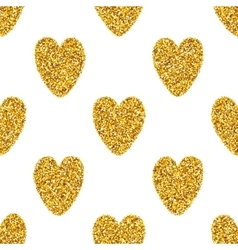 Seamless Background With Golden Hearts vector image vector image